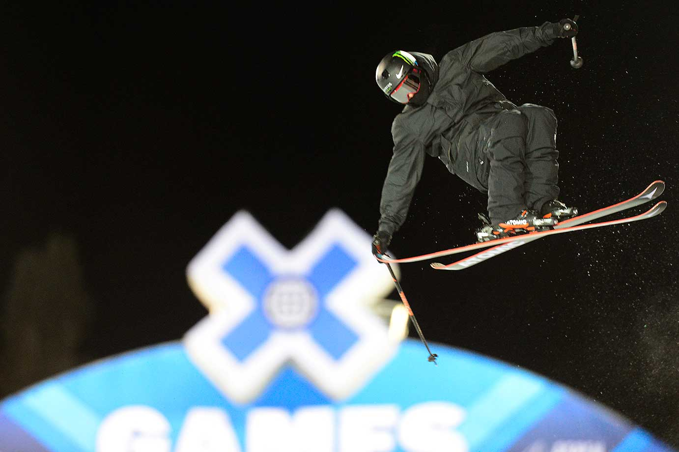 Gus Kenworthy catches some air during practice runs for the X Games at Buttermilk Mountain in Aspen, Colo.