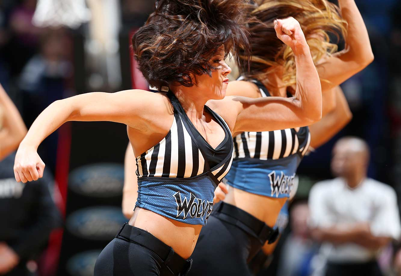Dancers perform during the game between the Oklahoma City Thunder and Minnesota Timberwolves at Target Center in Minneapolis, Minn.