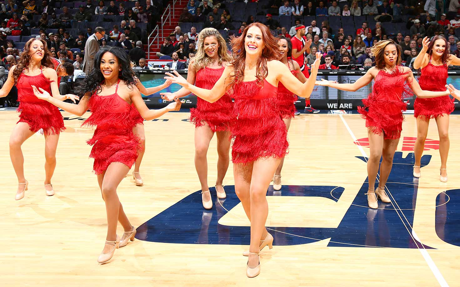 The Washington Wizards dance team is seen during the game against the Denver Nuggets at Verizon Center in Washington, D.C.