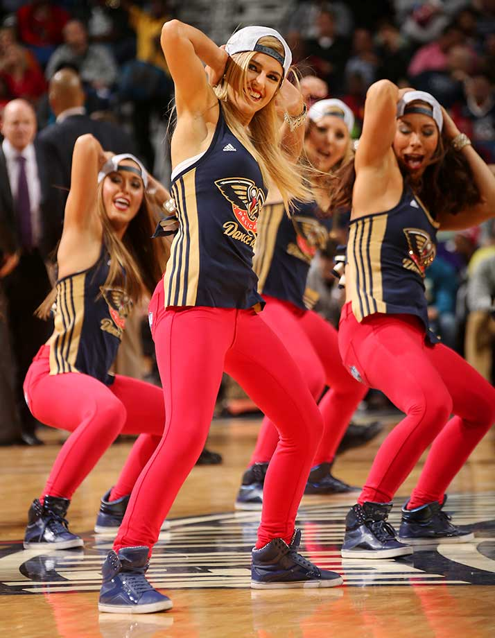 The New Orleans Pelicans dance team is seen against the Sacramento Kings at the Smoothie King Center in New Orleans.