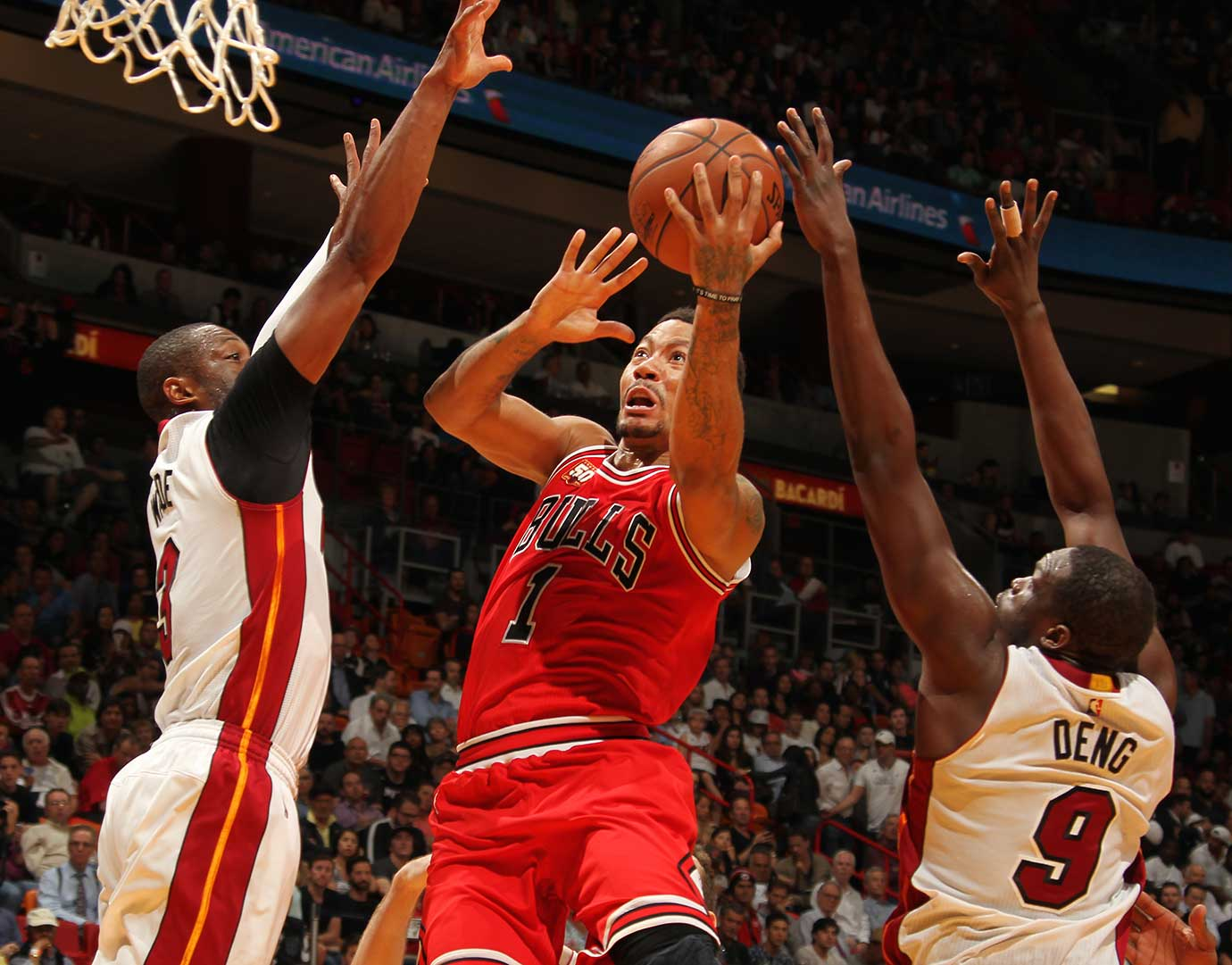 Derrick Rose of the Chicago Bulls goes for a layup against the Miami Heat.