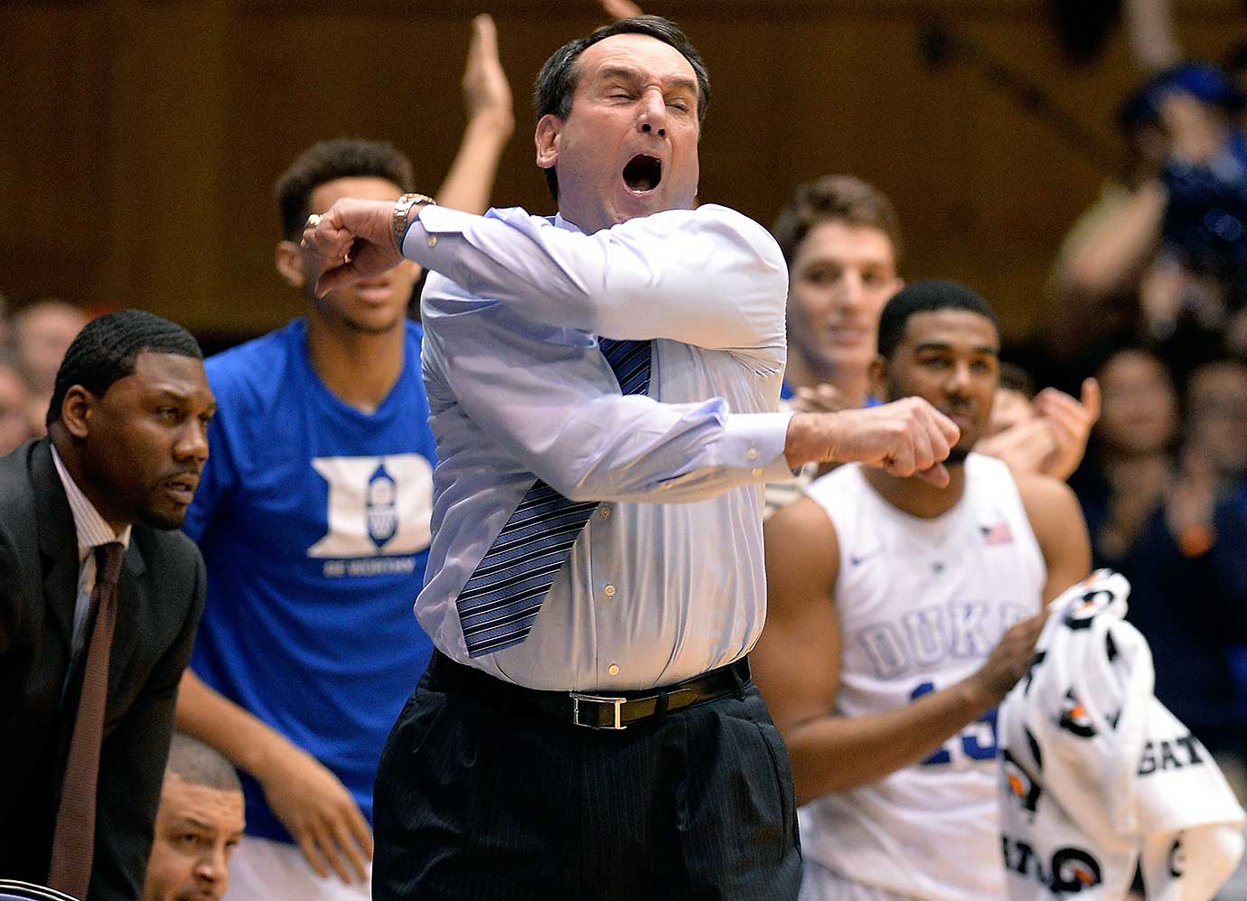 Duke Coach Mike Krzyzewski in a fit of rage during a 79-71 win over Wake Forest.