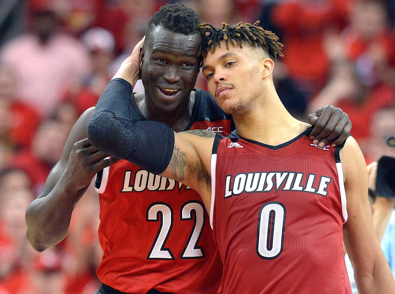 Louisville's Damion Lee (0) and Deng Adel at the end of a 56-53 win over Georgia Tech.