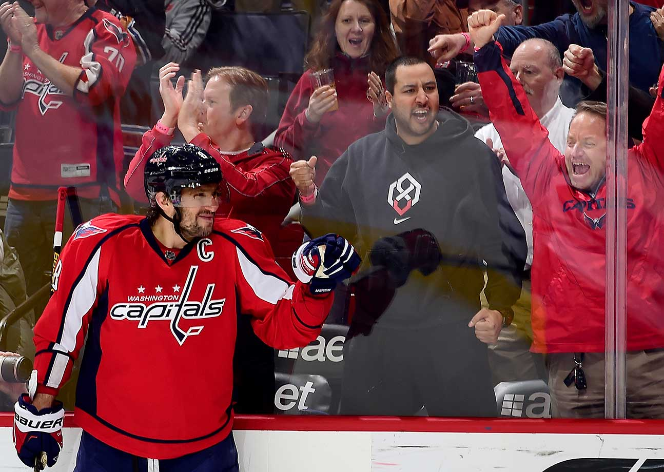 Alex Ovechkin of the Washington Capitals celebrates his first-period goal against Toronto.