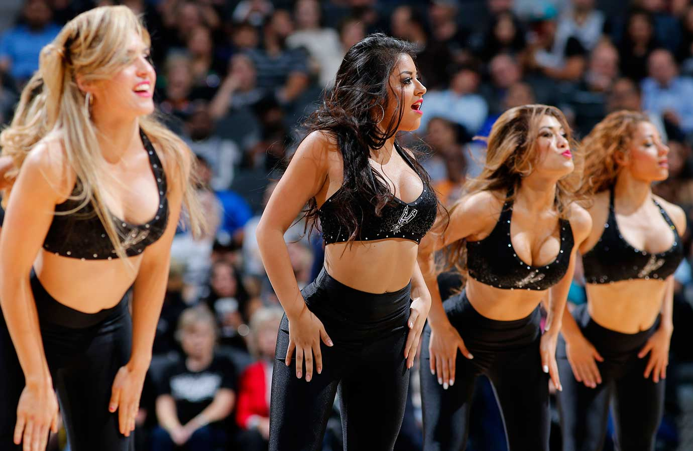The San Antonio Spurs dance team is seen during the game against the Detroit Pistons.