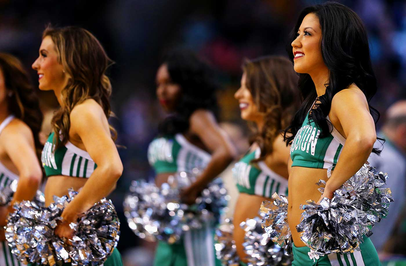 The Celtics Cheerleaders look on during the first quarter at TD Garden.