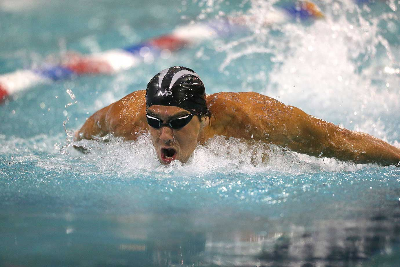 Michael Phelps in his final heat of the 100 LC Meter Butterfly at the Arena Pro Swim Series in Orlando.