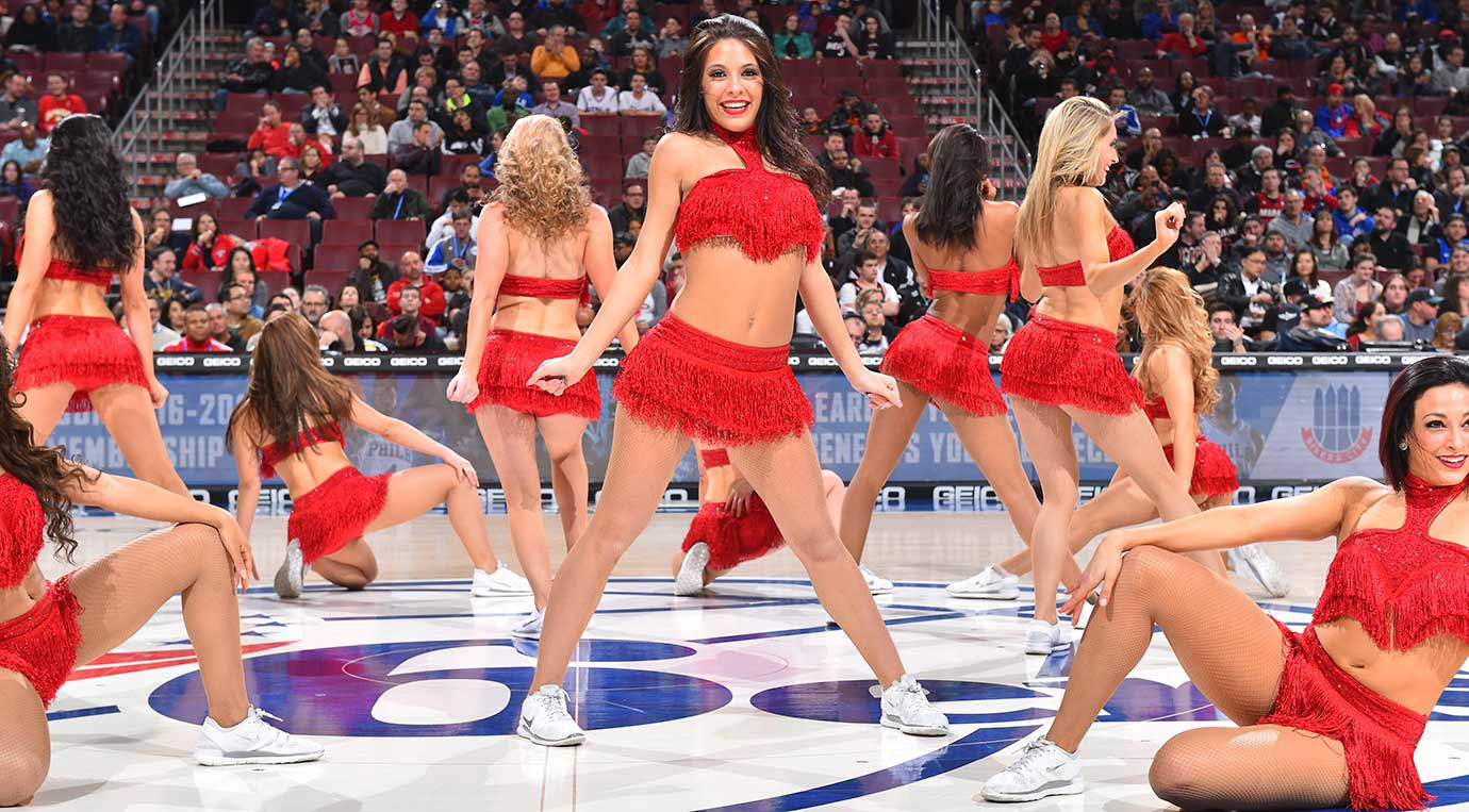 Members of the Philadelphia 76ers Dance Team perform for the crowd against the Miami Heat.
