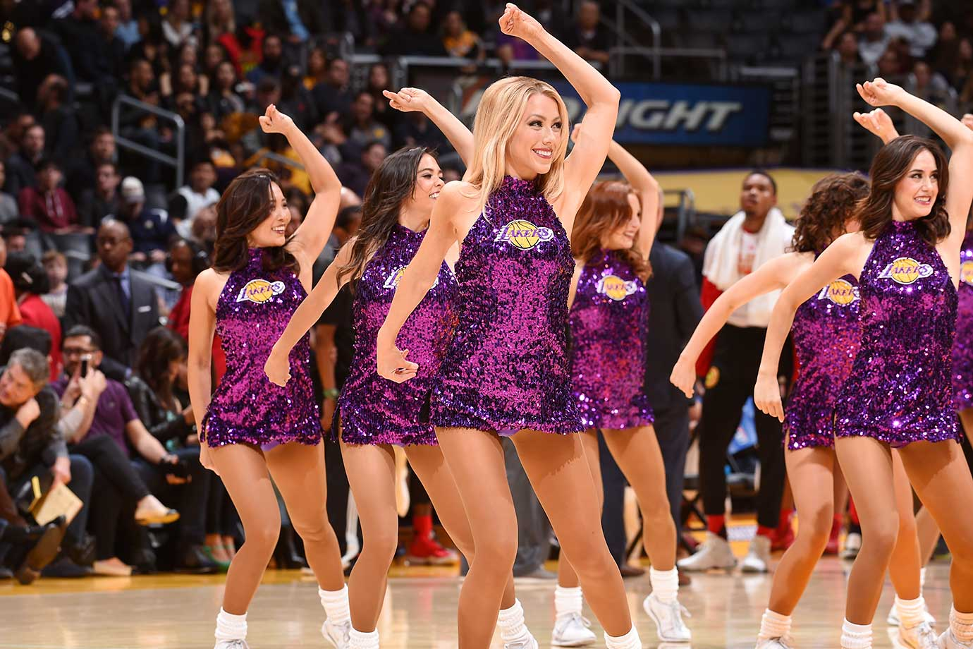 The Los Angeles Lakers dance team is seen during the game against the Atlanta Hawks.