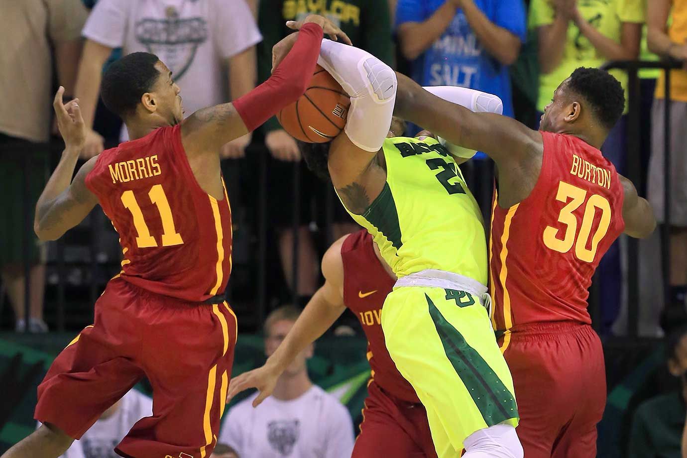 Ishmail Wainright of Baylor drives to the basket against Monte Morris and Deonte Burton of Iowa State.