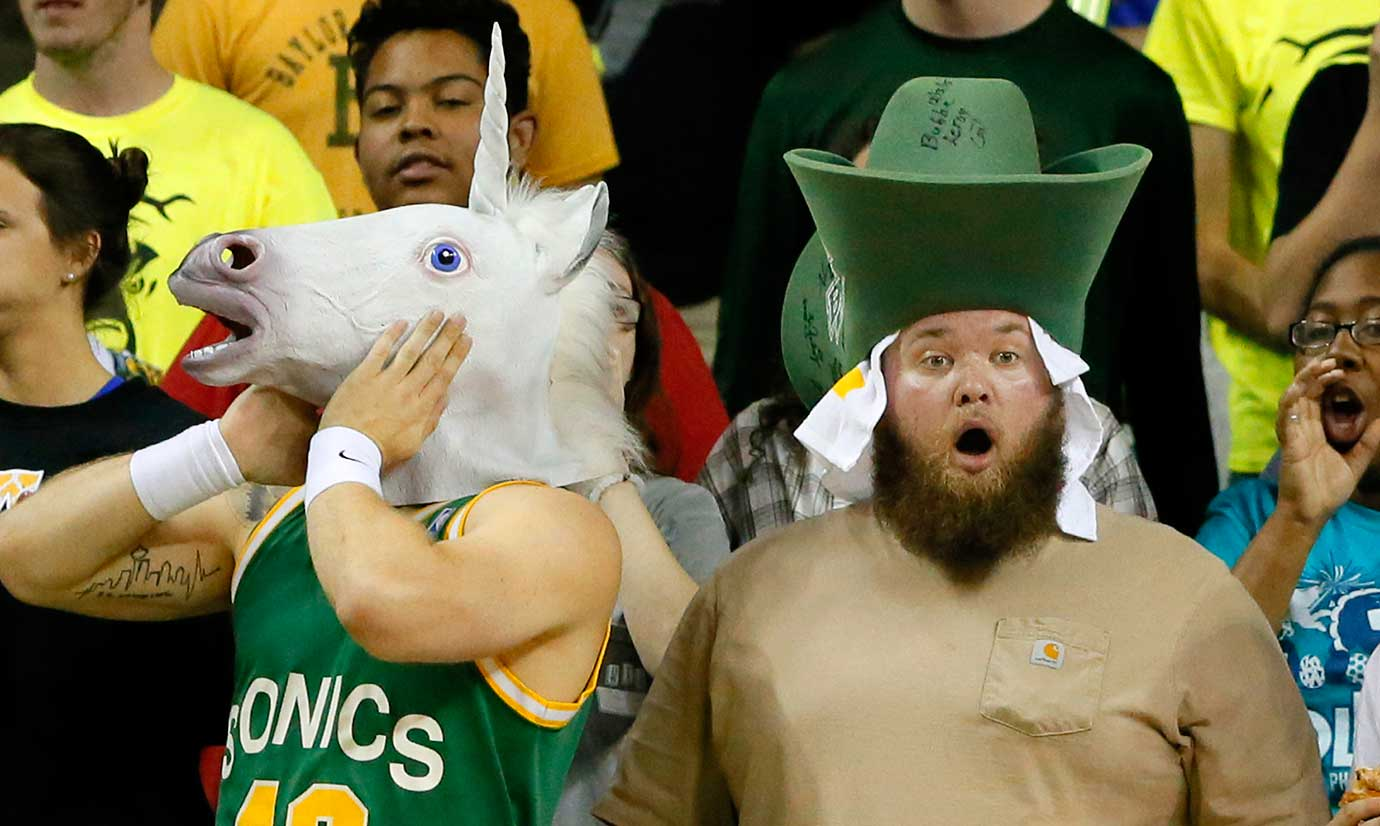Baylor fans react to a foul called against their team during an overtime win over Iowa State.
