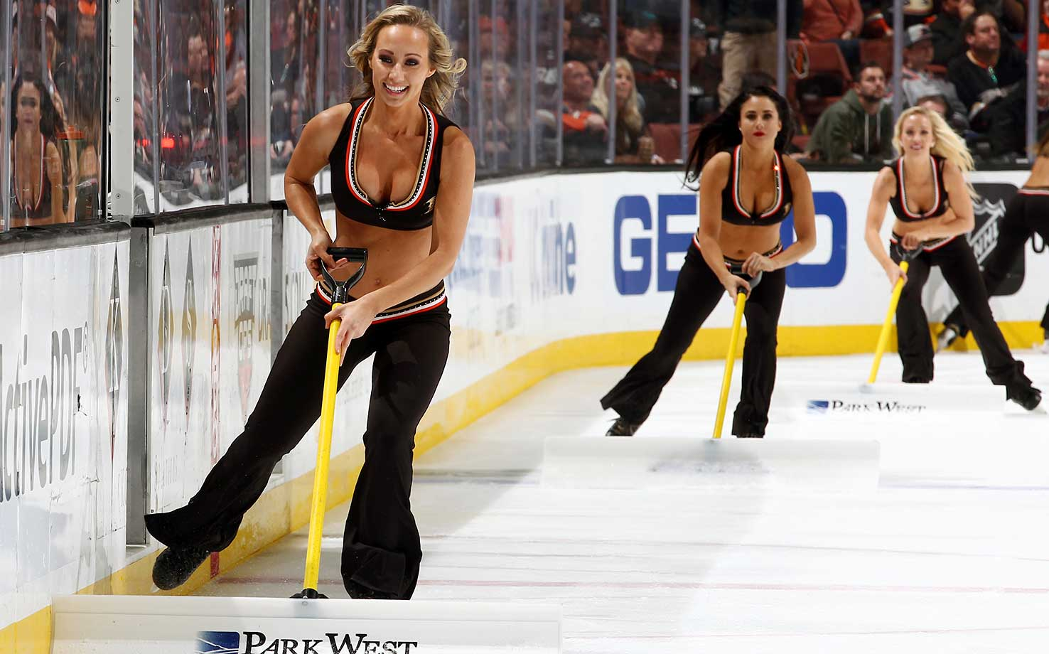 The Anaheim Ducks Power Players clear the ice during a break in play against the San Jose Sharks at Honda Center in Anaheim, Calif.