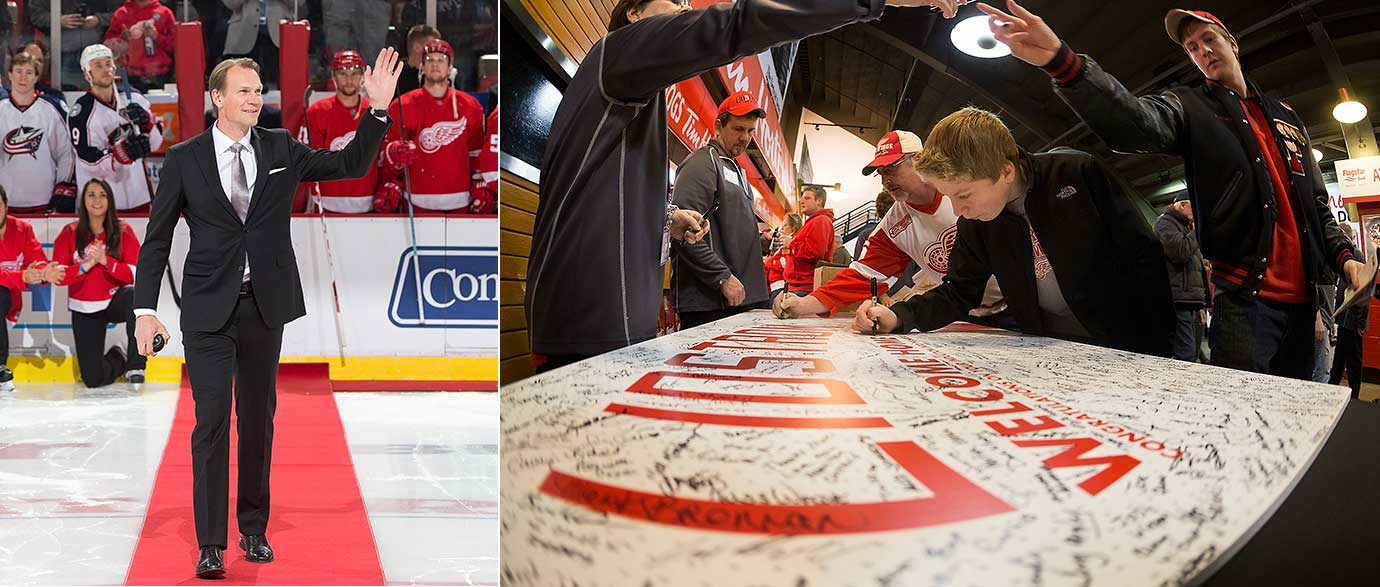 "Fans sign a ""Congratulations Nick"" card as the Detroit Red Wings hosted Nicklas Lidstrom Hall of Fame Night, celebrating his induction into the Hockey Hall of Fame."