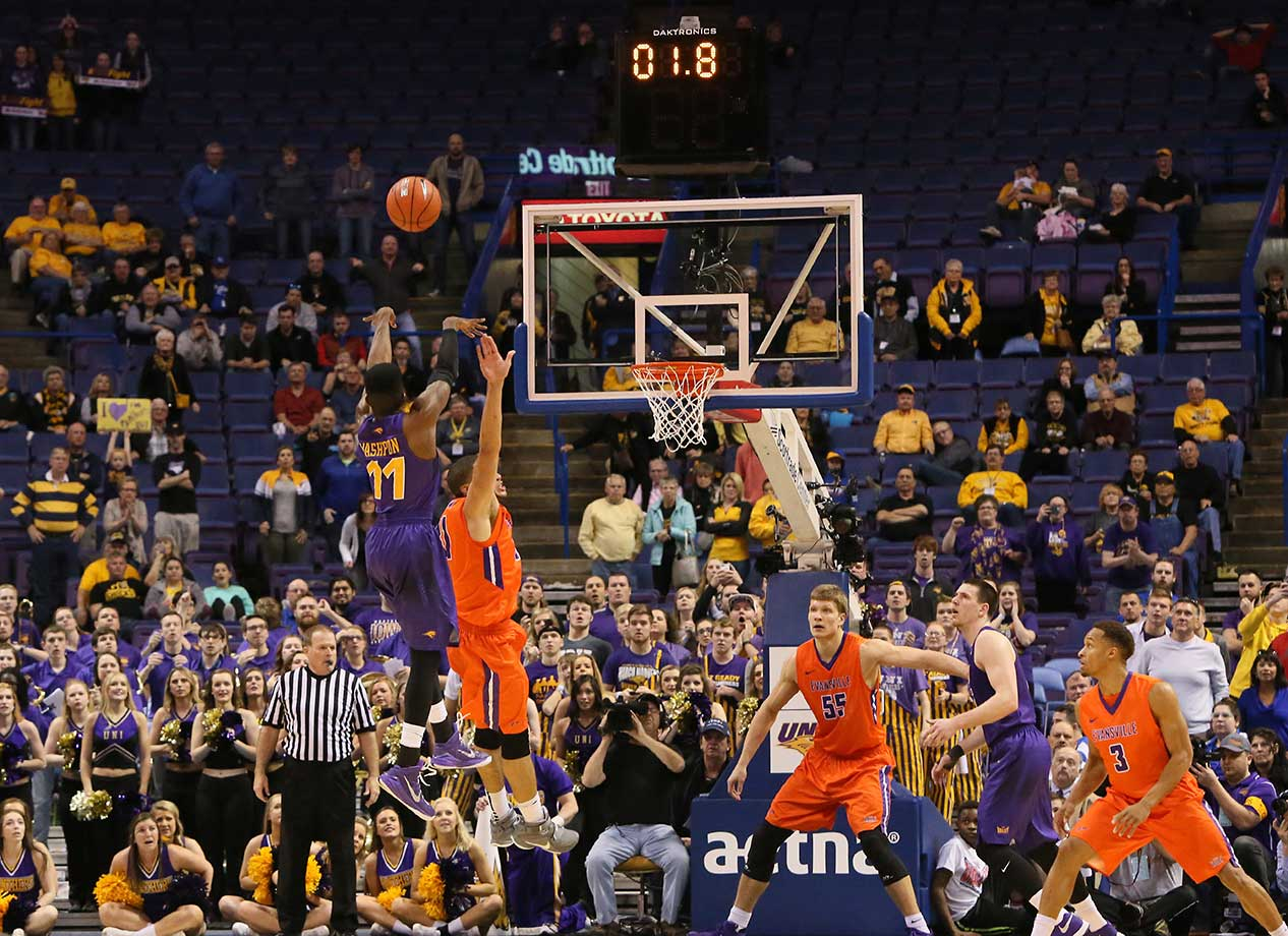Here are some of the images that caught our eye during a busy Sunday afternoon, evening and night in sports, beginning with Wes Washpun shooting Northern Iowa into the NCAA Tournament with this game-winning three-pointer.