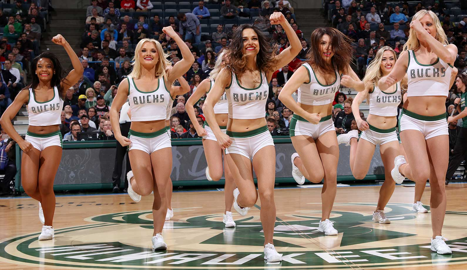 The Milwaukee Bucks dance team performs during the game against the Washington Wizards.