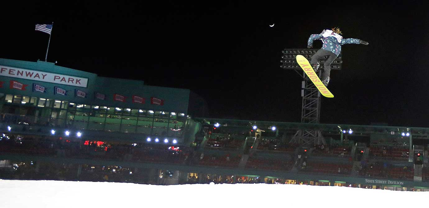 Snowboarder Jessika Jenson of the U.S. at the Big Air at Fenway skiing and snowboarding U.S. Grand Prix tour event.