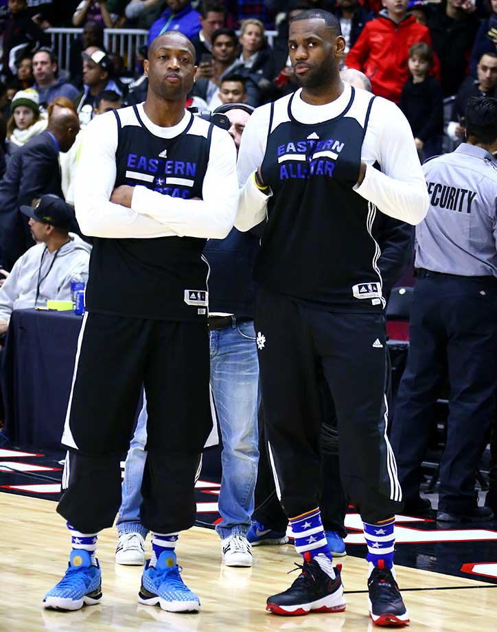 Dwyane Wade and LeBron James of the Eastern Conference All-Stars during the NBA All-Star Practice.