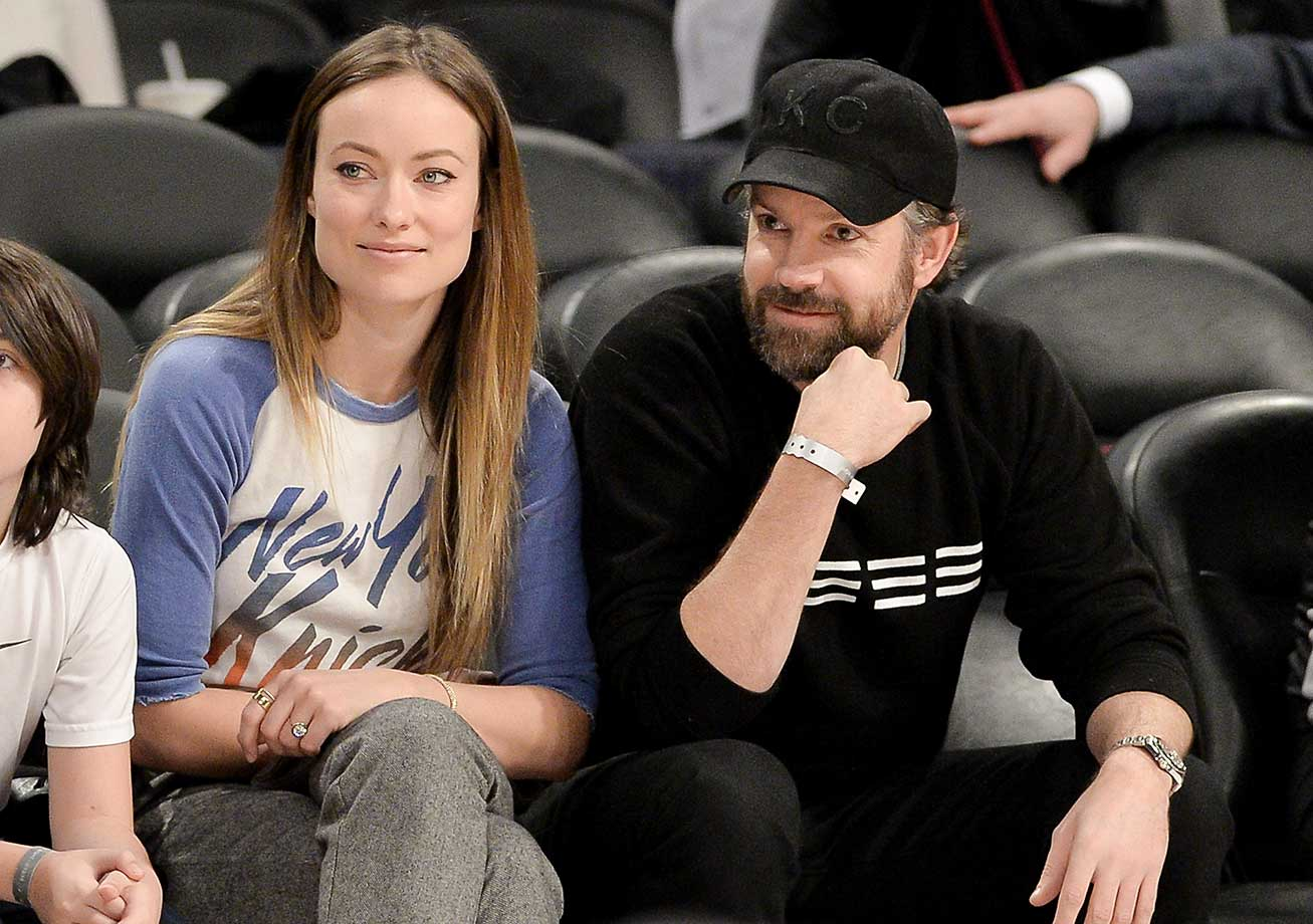 Actress Olivia Wilde and actor Jason Sudeikis at the NBA All-Star Saturday Night at Air Canada Centre in Toronto.