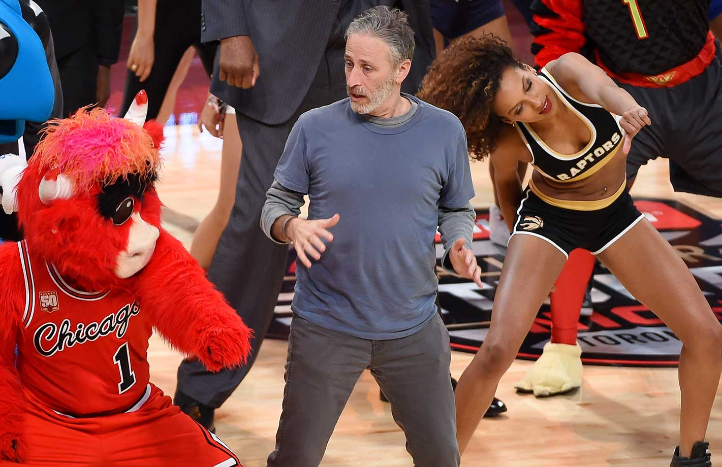 Emmy-award winning tv host and comedian Jon Stewart gets some Whip and Nae Nae lessons at NBA All-Star Saturday Night.