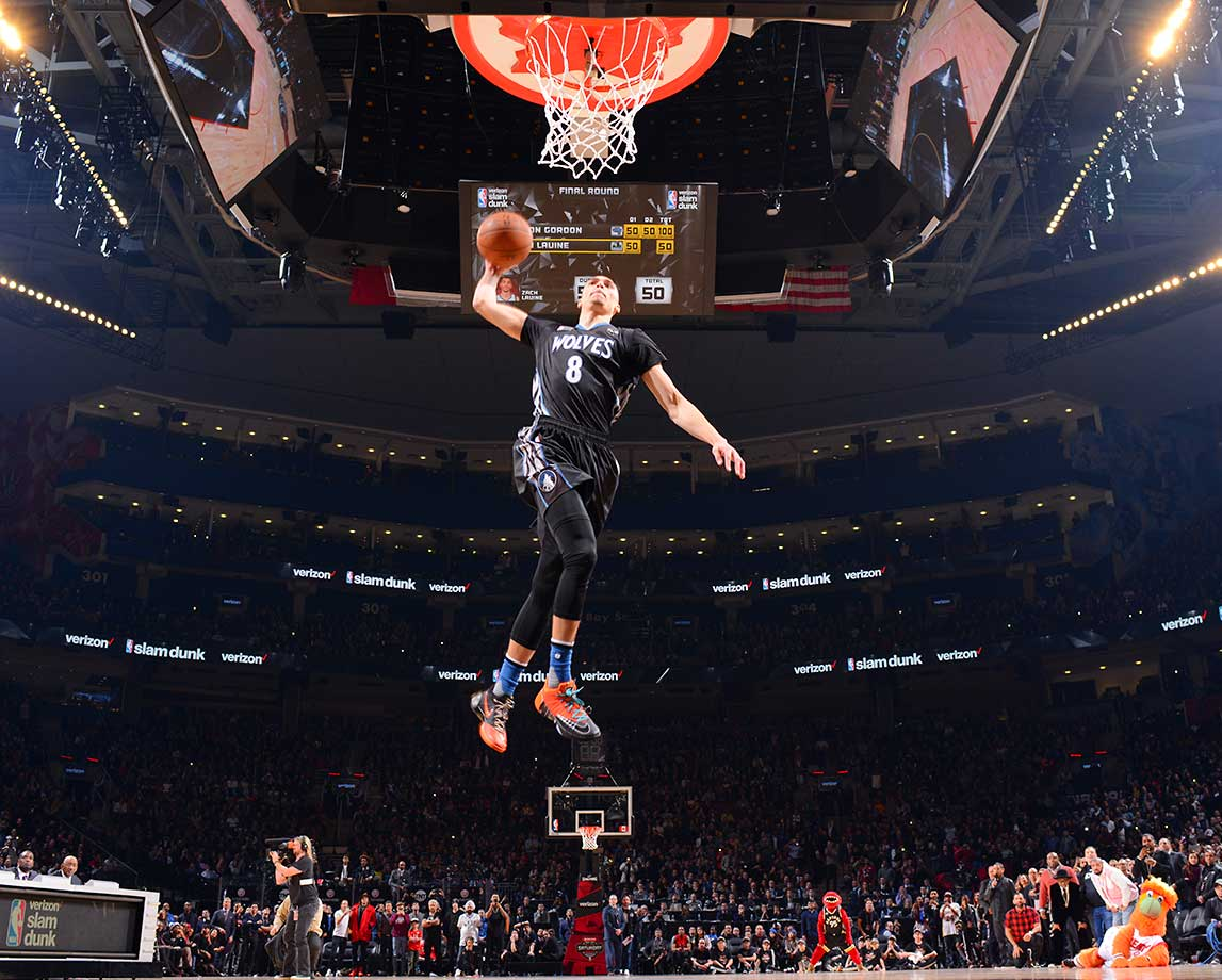 Zach LaVine outscored Alex Gordon 100-97 in sudden death to win the slam dunk contest.