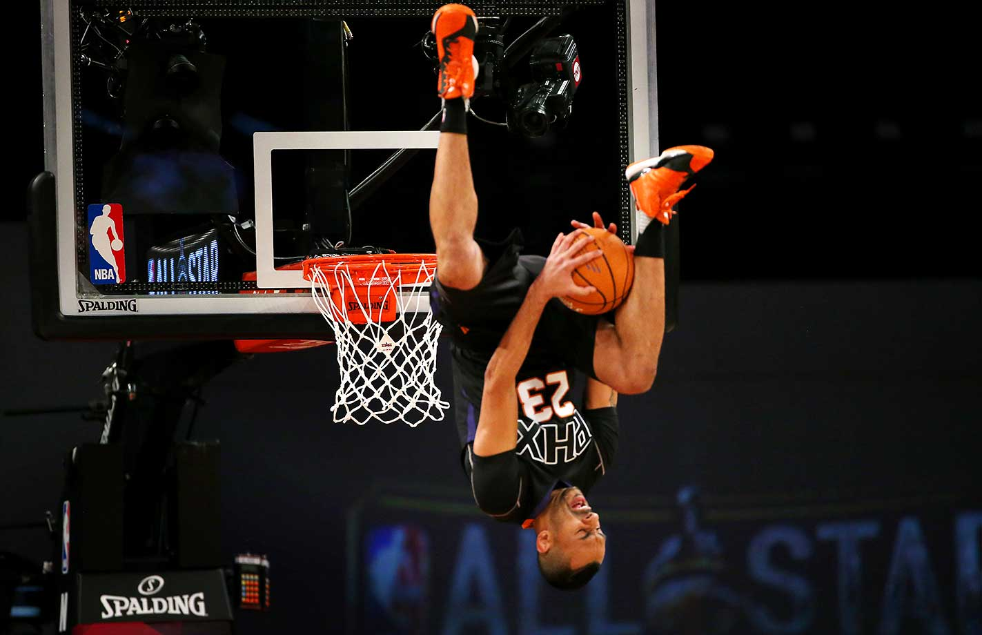 The Phoenix Suns dunk team entertains during the NBA All-Star Game.