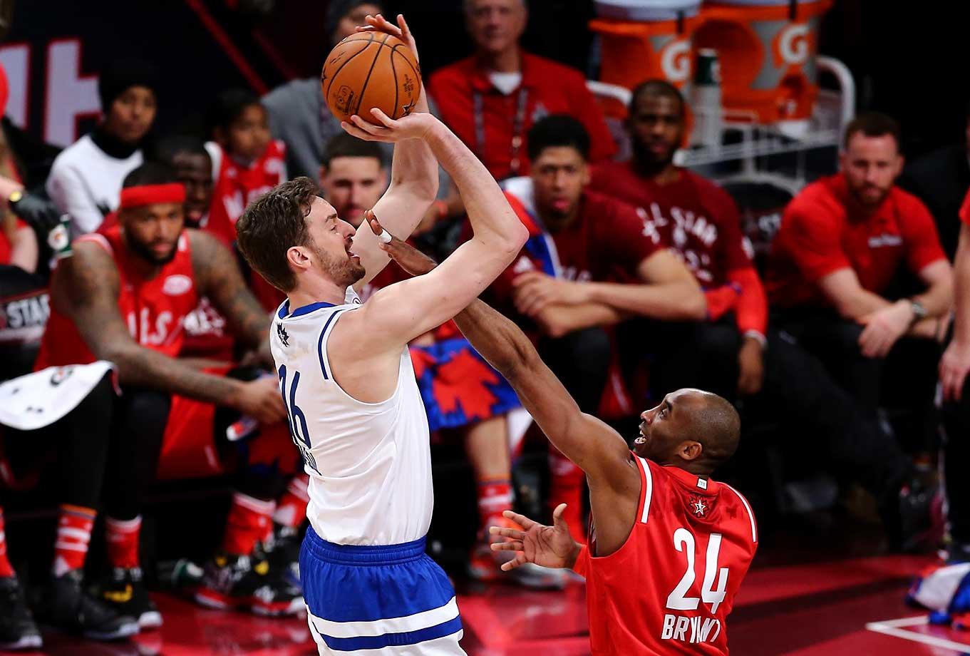 Pau Gasol shoots against his former teammate, Kobe Bryant.
