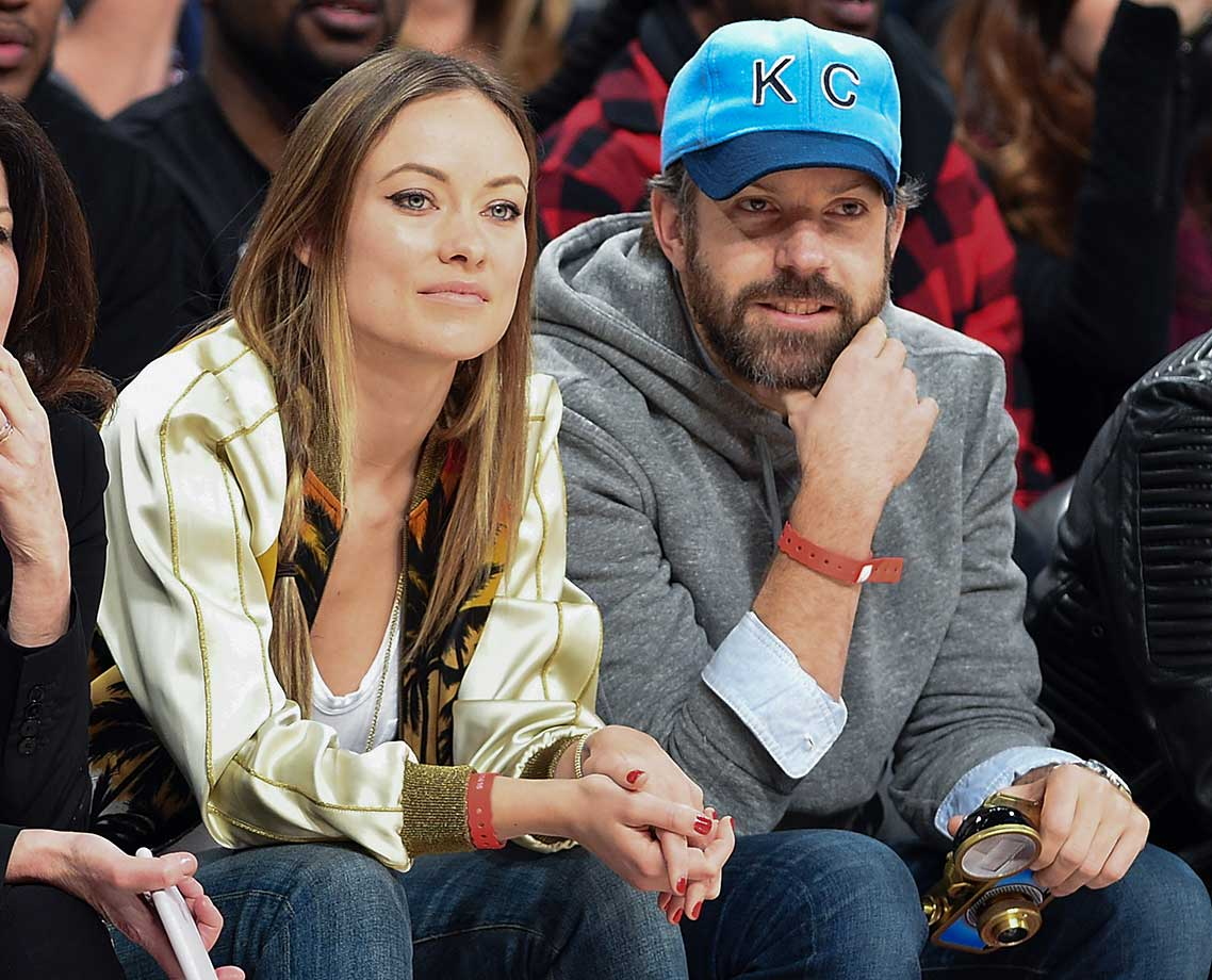 Actress Olivia Wilde and actor Jason Sudeikis at the All-Star Game.