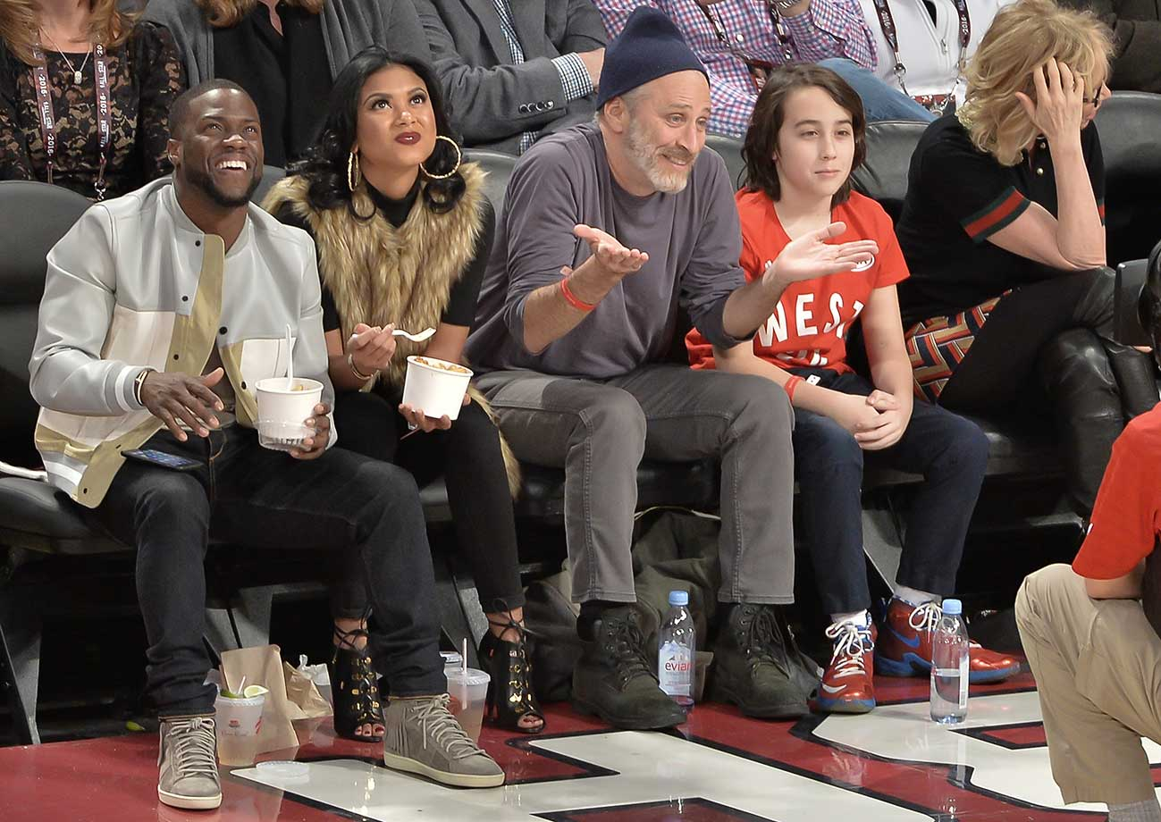 Kevin Hart, Eniko Parrish, Emmy-award winning tv host and comedian Jon Stewart and son Nathan at the All-Star Game.