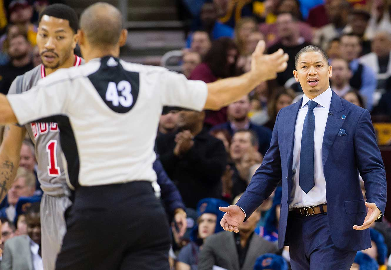 Head coach Tyronn Lue of the Cleveland Cavaliers reacts to a call from referee Dan Crawford at Quicken Loans Arena in Cleveland.