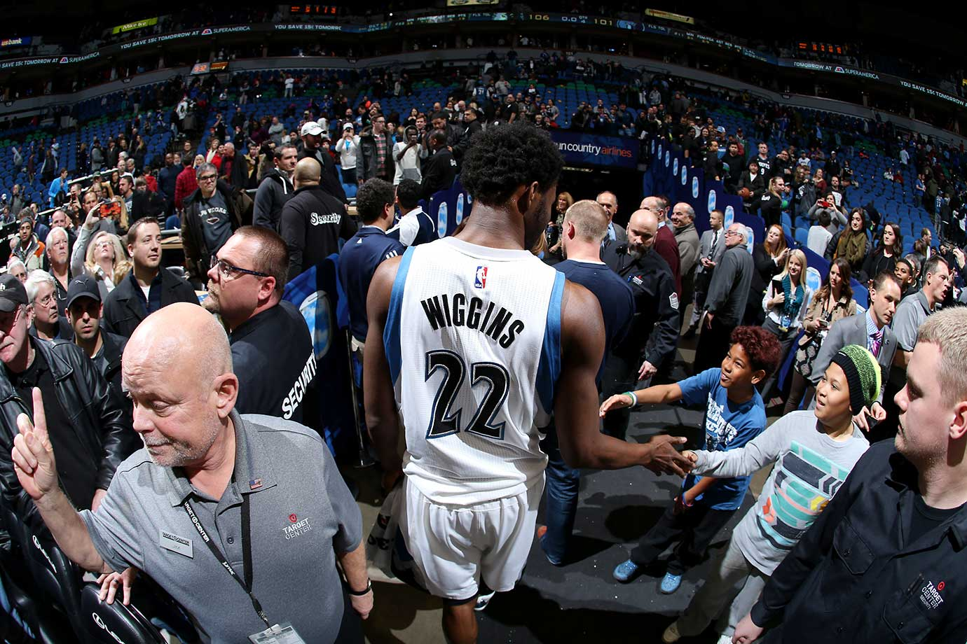 Andrew Wiggins of the Minnesota Timberwolves exits the arena against the Memphis Grizzlies at Target Center in Minneapolis.