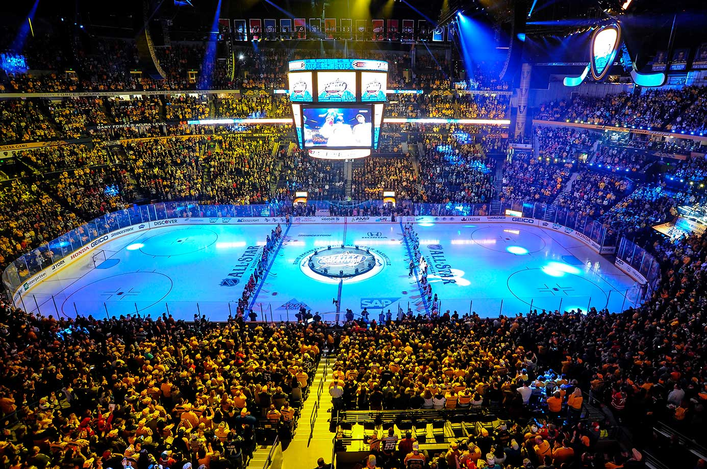 The start of the NHL All-Star weekend during an NHL All Star Skills competition at Bridgestone Arena in Nashville.