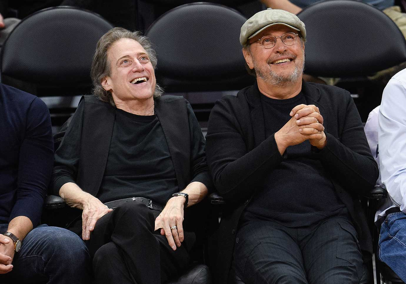 Richard Lewis and Billy Crystal attend the game between the Los Angeles Lakers and the Los Angeles Clippers at Staples Center.
