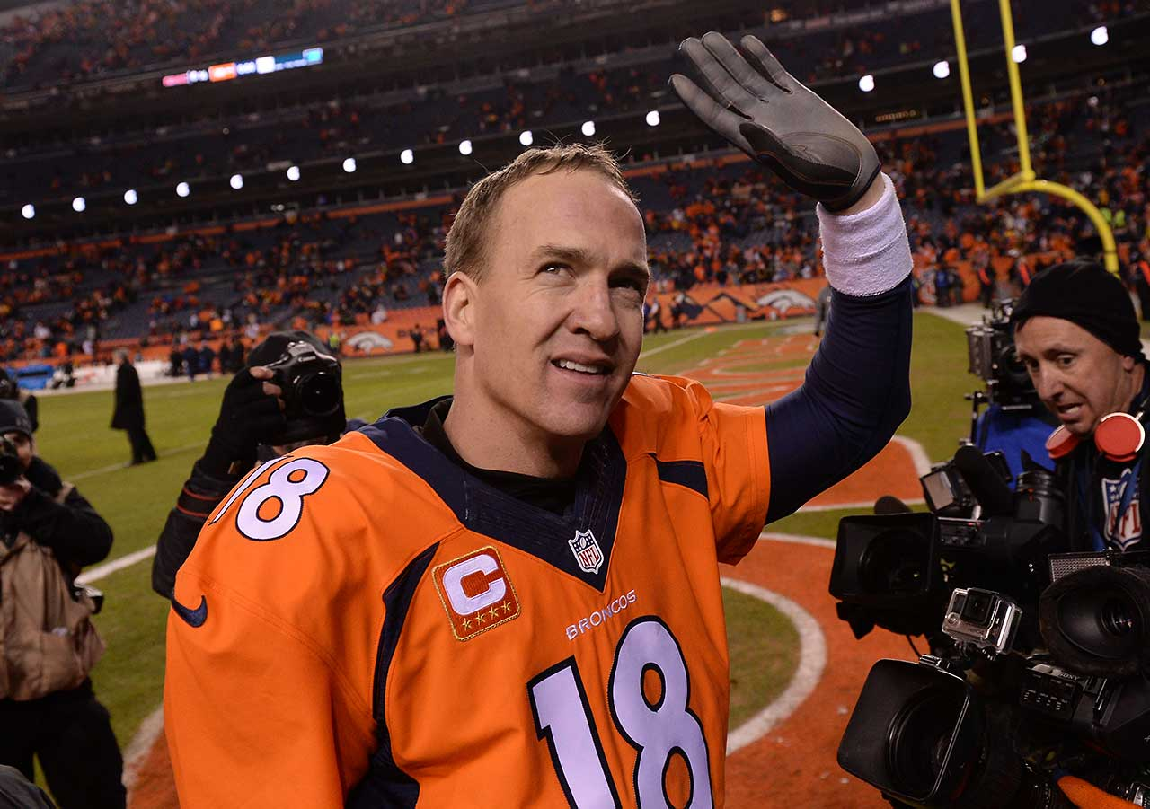 Peyton Manning acknowledges the crowd after his Denver Broncos defeated Pittsburgh to move within one win of a trip to Super Bowl 50.