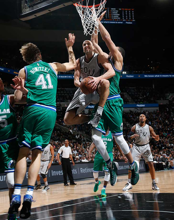 Manu Ginobili of the San Antonio Spurs goes to the basket against the Dallas Mavericks.