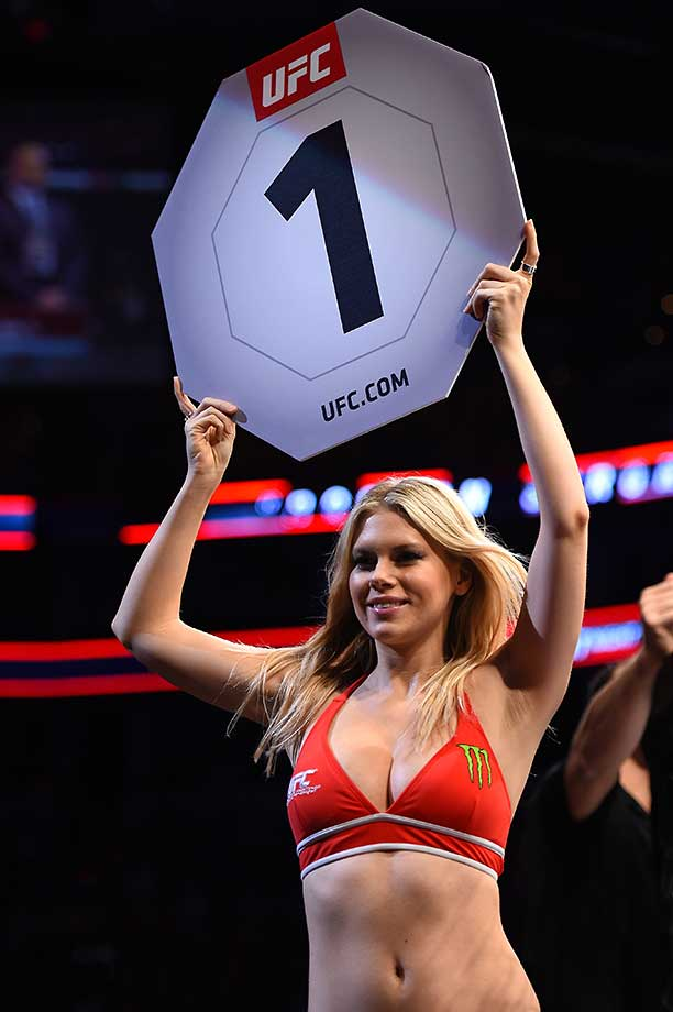 UFC Octagon Girl Chrissy Blair introduces a round during the UFC Fight Night event in Boston.