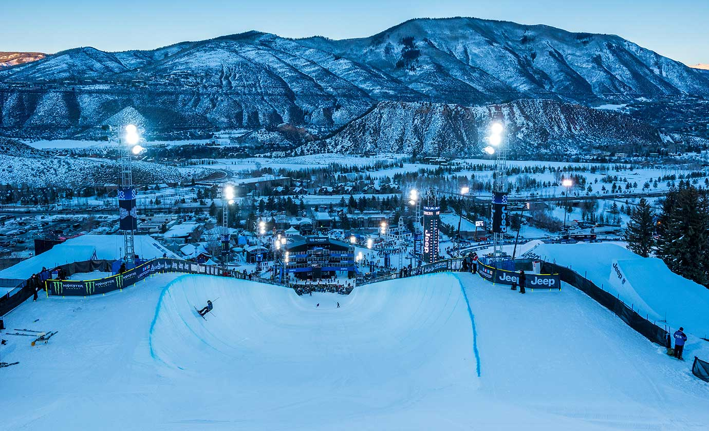 Dusk settles over the superpipe at the Winter X Games 2016 Aspen at Buttermilk Mountain in Colorado.