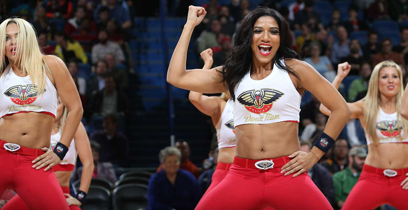 The New Orleans Pelicans dance team is seen during the game against the Detroit Pistons at the Smoothie King Center in New Orleans.