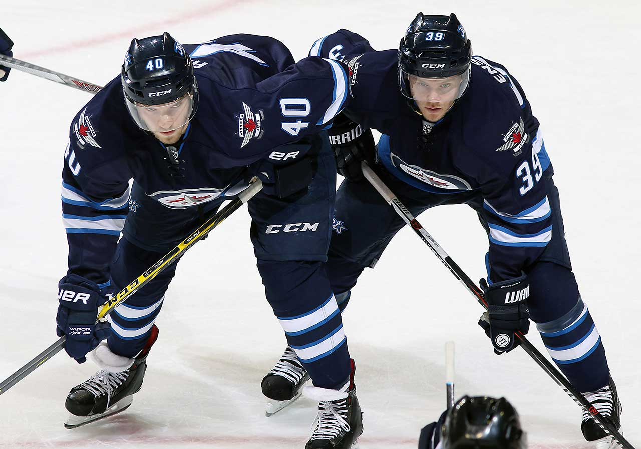 Joel Armia (40) and Toby Enstrom of the Winnipeg Jets get set for a second period face-off against the Colorado Avalanche at the MTS Centre in Winnipeg, Manitoba, Canada.