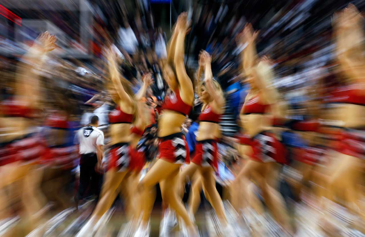 The Toronto Raptors Raps Dance Pak dance during a break during their team's game against the Brooklyn Nets.