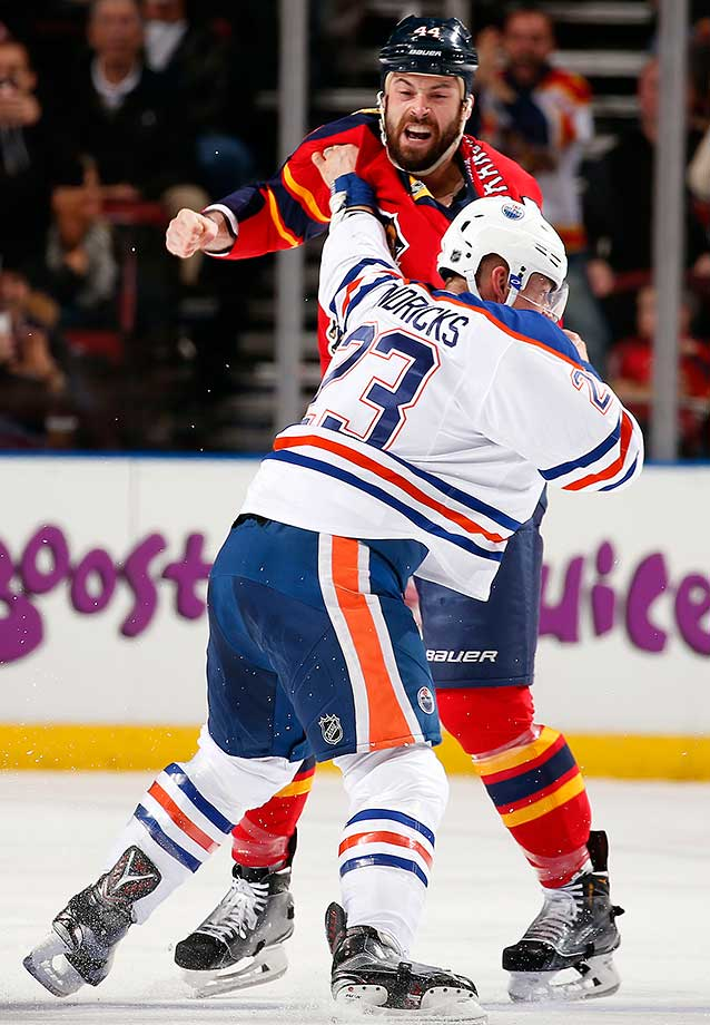 Erik Gudbranson of the Florida Panthers fights with Matt Hendricks of the Edmonton Oilers at the BB&T Center.