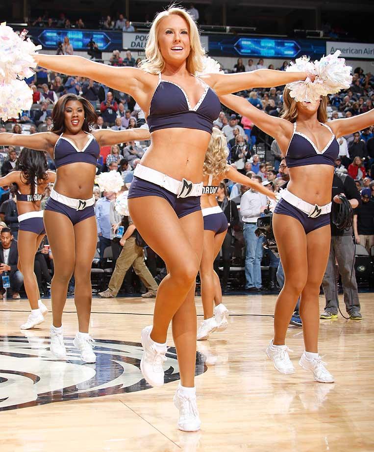 The Dallas Mavericks Dancers entertain the crowd against the Boston Celtics.
