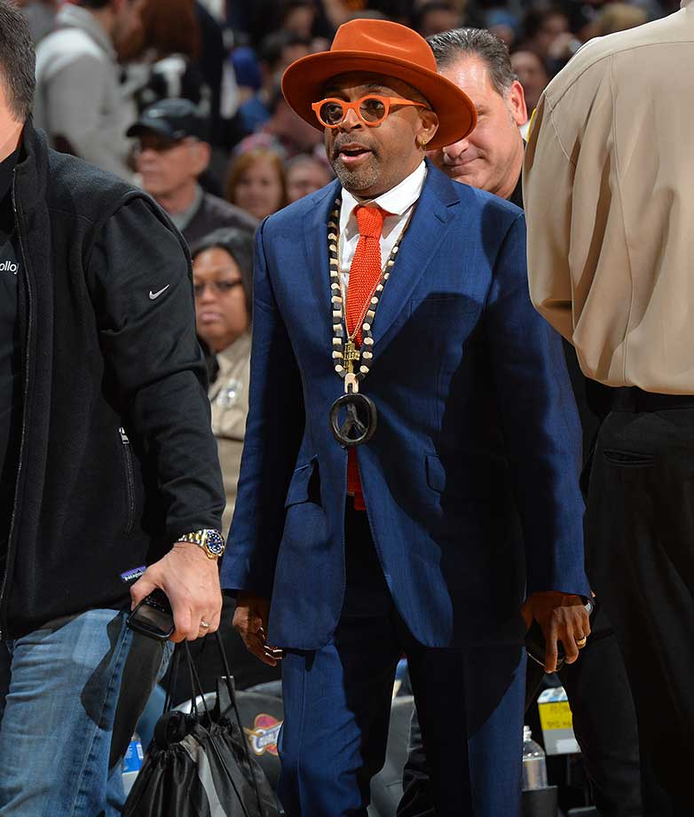 Knicks fan and producer Spike Lee at the Cleveland Cavaliers-Golden State Warriors game in Ohio.