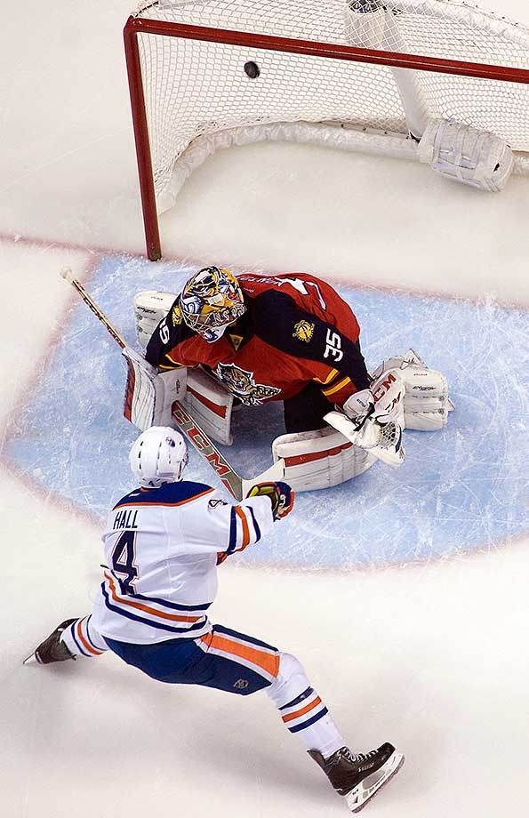 Taylor Hall of the Edmonton Oilers scores against Al Montoya of the Florida Panthers at the BB&T Center.