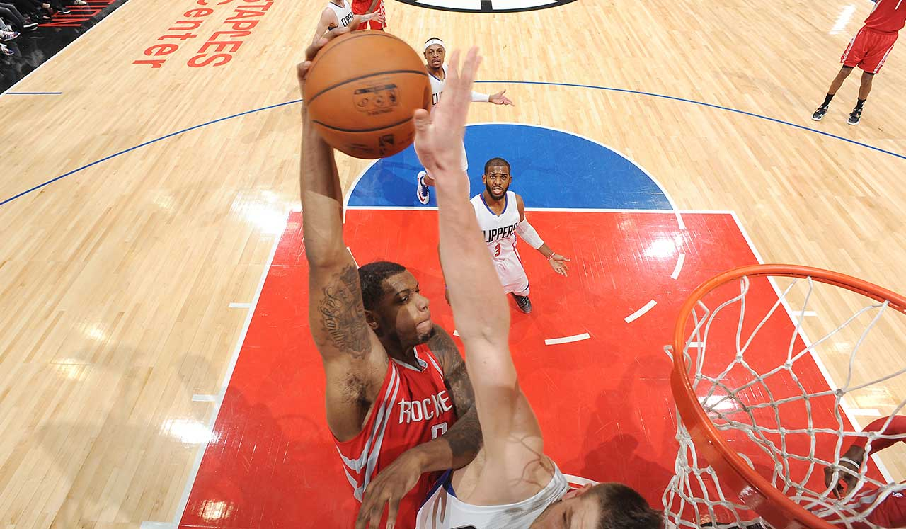 Terrence Jones of the Houston Rockets shoots against the Los Angeles Clippers during their game at STAPLES Center in Los Angeles.