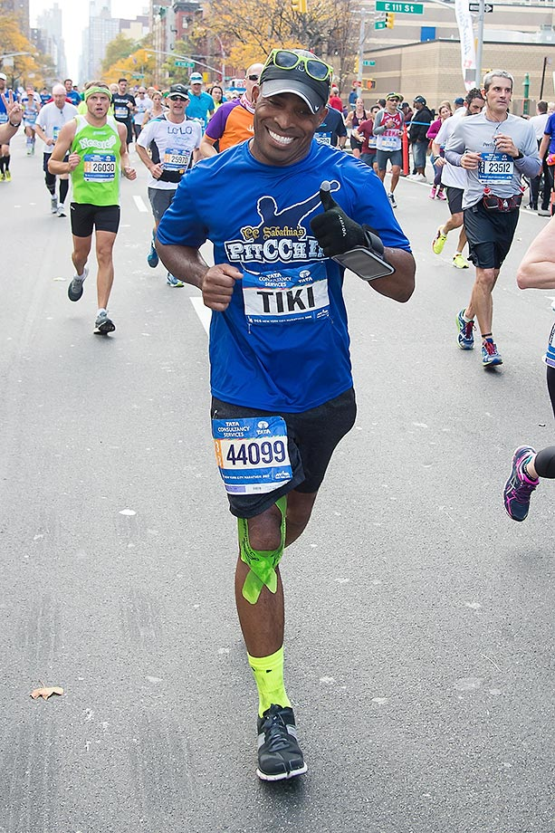 They made a custom bib for Tiki Barber at the New York City Marathon.