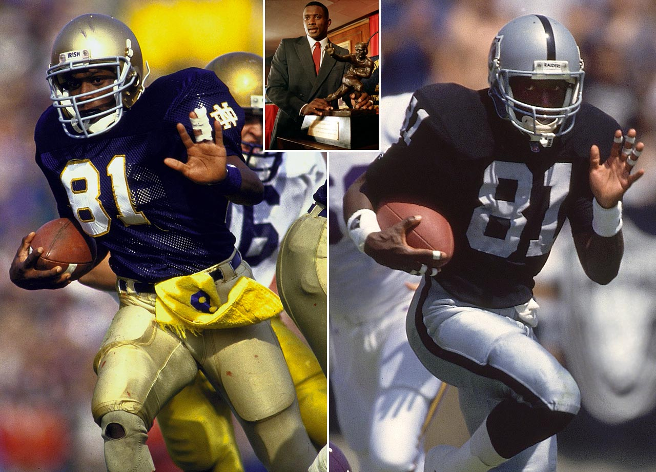 The Notre Dame standout gained 1,937 all-purpose yards in 1987 and became the first wide receiver to win the Heisman. He was drafted by the Raiders and played 17 seasons with the franchise. Brown was a nine-time Pro Bowl selection and set Raiders franchise records for receptions, receiving yards and punt return yards.