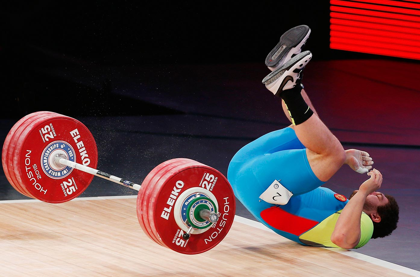 Timur Naniev of Russia reacts to a lift in the 105kg weight class during the world championships in Texas.