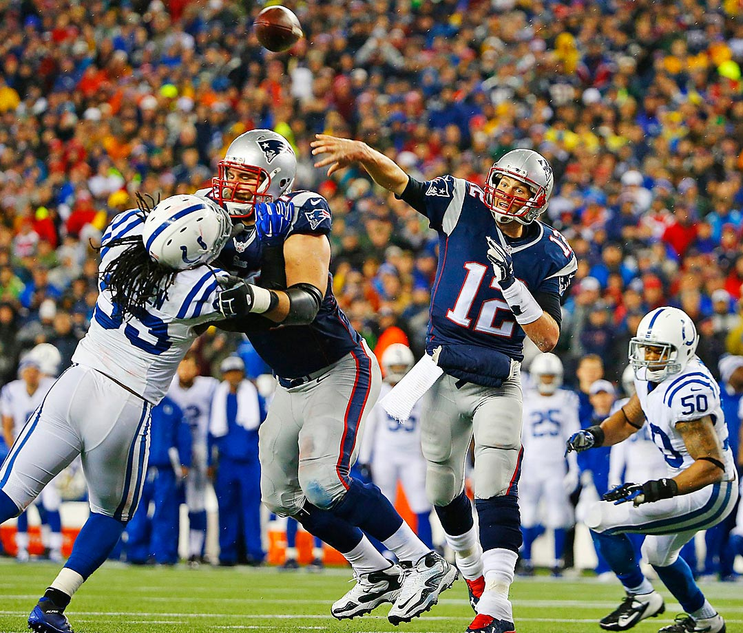 New England Patriots quarterback Tom Brady throws a pass during the AFC Championship game.