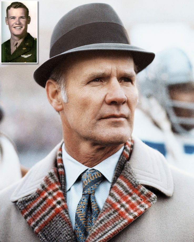 The legendary Cowboys coach served in the Army Air Corps from 1942 to 1945, and rose to the rank of Second Lieutenant. During his enlistment, Landry completed 30 combat missions and survived a crash landing in Belgium. After the war, Landry went on to play football for the University of Texas and the New York Giants, before coaching the Dallas Cowboys to two Super Bowl victories over 29 years.
