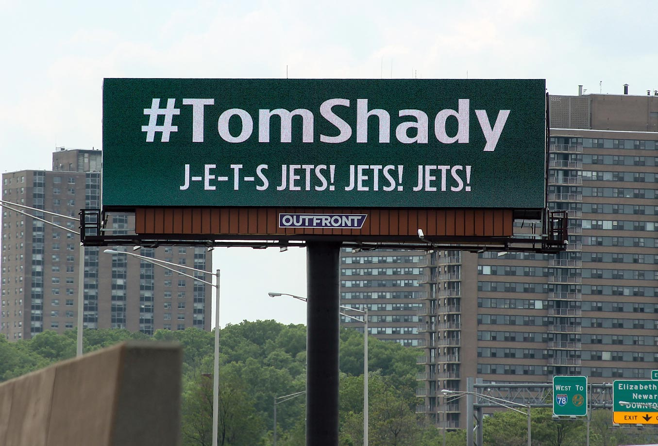 A #TomShady billboard on Route 78 in Newark, N.J. Some New York Jets fans bought 12 billboards in the New York-New Jersey area to poke fun at Tom Brady, who recently received a four-game suspension.